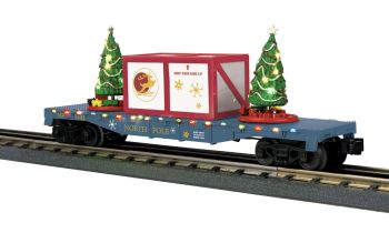Flat Car w/Lighted Christmas Trees - North Pole (Blue/Maroon Crate)