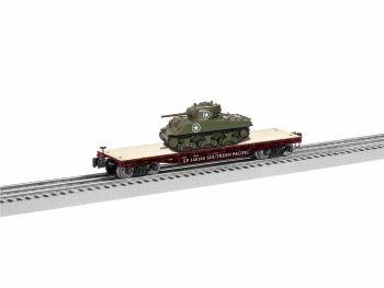 40' Flatcar with Sherman Tank - Southern Pacific #140125