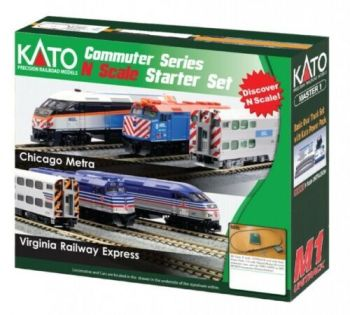Chicago Metra F40PH (New Paint Version) and Gallery Bi-Level Commuter Series Starter Set