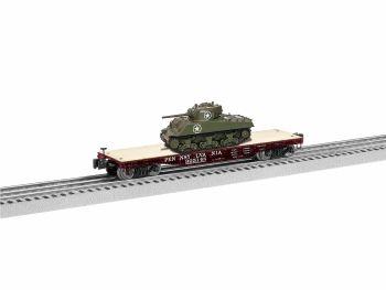 40' Flatcar with Sherman Tank - PRR #925148