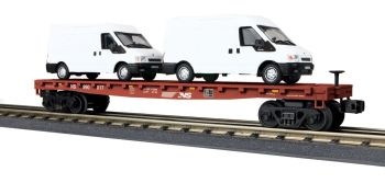 Flat Car w/(2) 'Ford Transit Van - Norfolk Southern