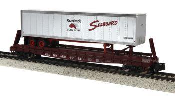 Flat Car w/48' Trailer (Smooth w/Scale Wheels) - Seaboard #47128