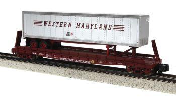 Flat Car w/48' Trailer (Smooth w/Scale Wheels) - Western Maryland #2620