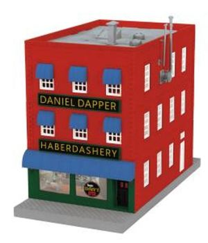 3-Storey City Building w/Fire Escape & Blinking Sign - Dapper Dan's Haberdashery