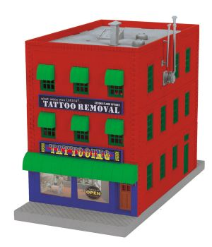 3-Story City Building w/Fire Escape & Blinking Sign - What were you inking - Tattoo Removal