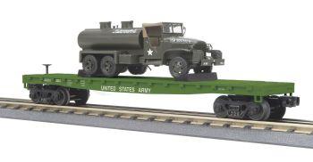 Flat Car w/(1) 6x6 Tank Truck - U.S. Army