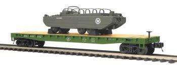 Flat Car w/GMC DUKW 353 - U.S. Army - O Scale Premier