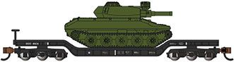 52' Center-Depressed Flat Car - Black with Green Sheridan Tank