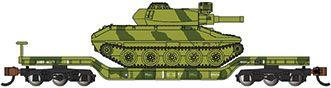 52' Center-Depressed Flat Car - Green Camo with Sheridan Tank