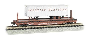 Western Maryland® 52ft flat car w/ WM 35ft Trailer