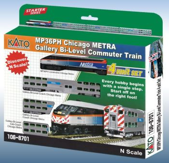 "MP36PH Chicago METRA Gallery Bi-Level Commuter Train ""Starter Series"" 4-Car Set* with Pre-Installed DCC"