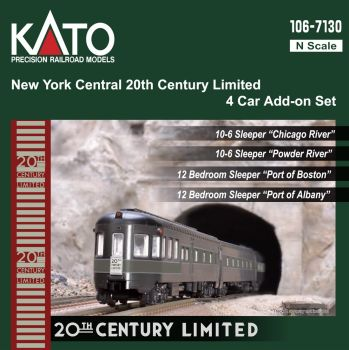 New York Central 20th Century Limited 4 Car Add-On Set