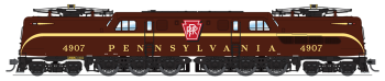 PRR GG1 Electric, #4907, Tuscan Red, Broad Stripe, Buff Lettering & Stripe, Roman Lettering, Paragon3 Sound/DC/DCC