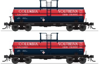 6000 Gallon Tank, Columbia Southern, Dark Blue & Red, 2-pack, HO (SACX #683, SACX #688)