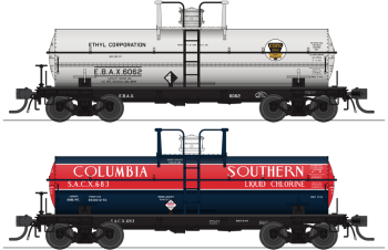 6000 Gallon Tank, Variety Set E, Late 1950's 2-pack, HO (Ethyl Corp #6068, Columbia Southern #681)