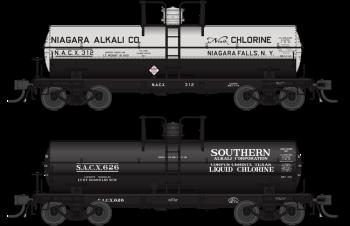 6000 Gallon Tank, Variety Set D, Early 1950's 2-pack, HO (Niagara Alkali #312, Southern Alkali #626)