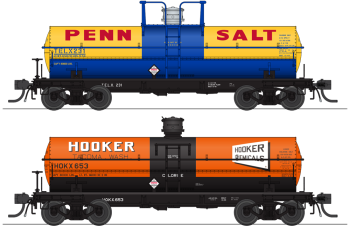 6000 Gallon Tank, Variety Set F, Late 1950's 2-pack, HO (Penn Salt #232, Hooker #653)