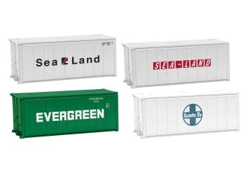 HO 20' Shipping Containers 4pk A