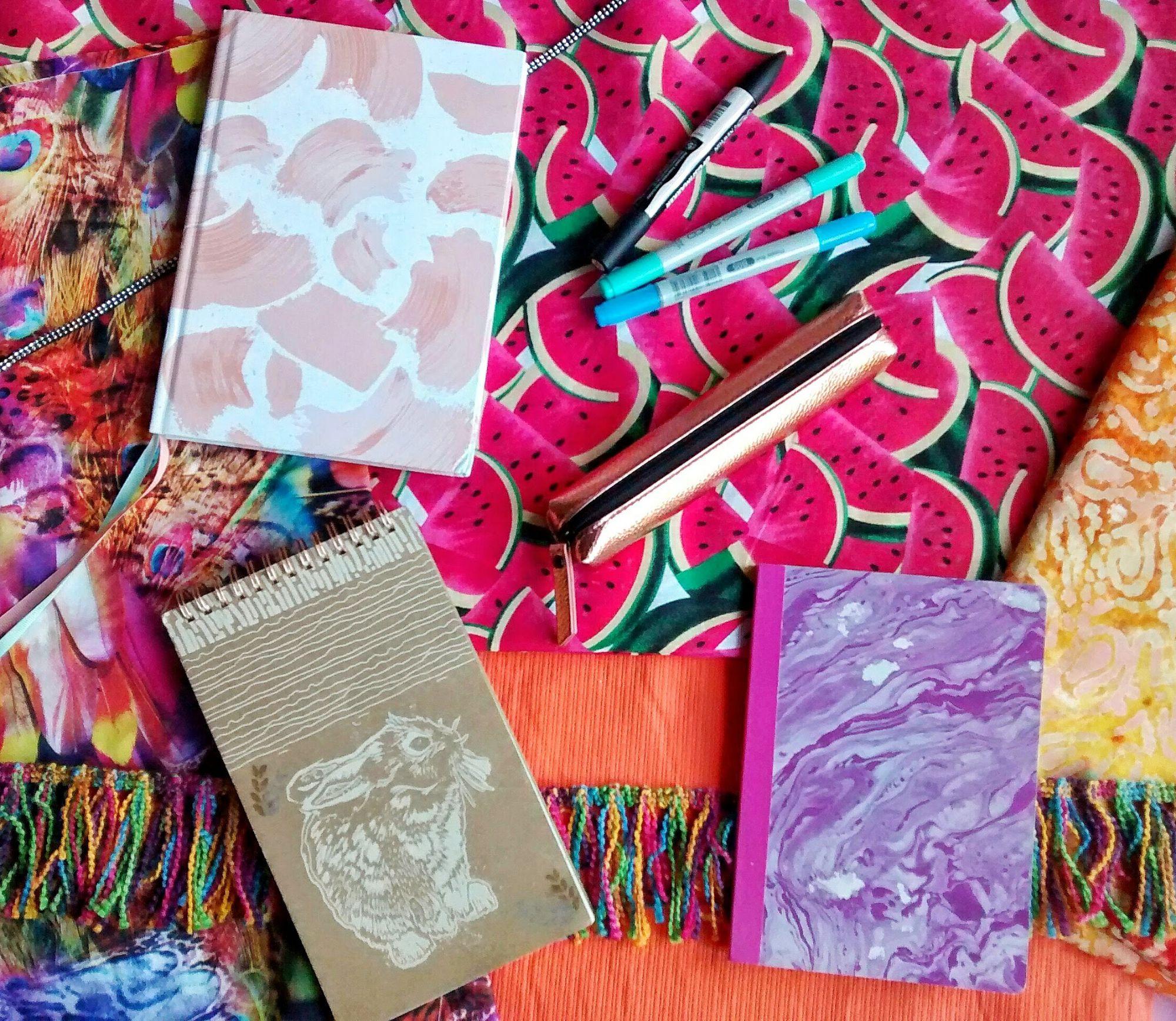 Brightly coloured fabrics and stationery Raspberrycatdesigns.co.uk