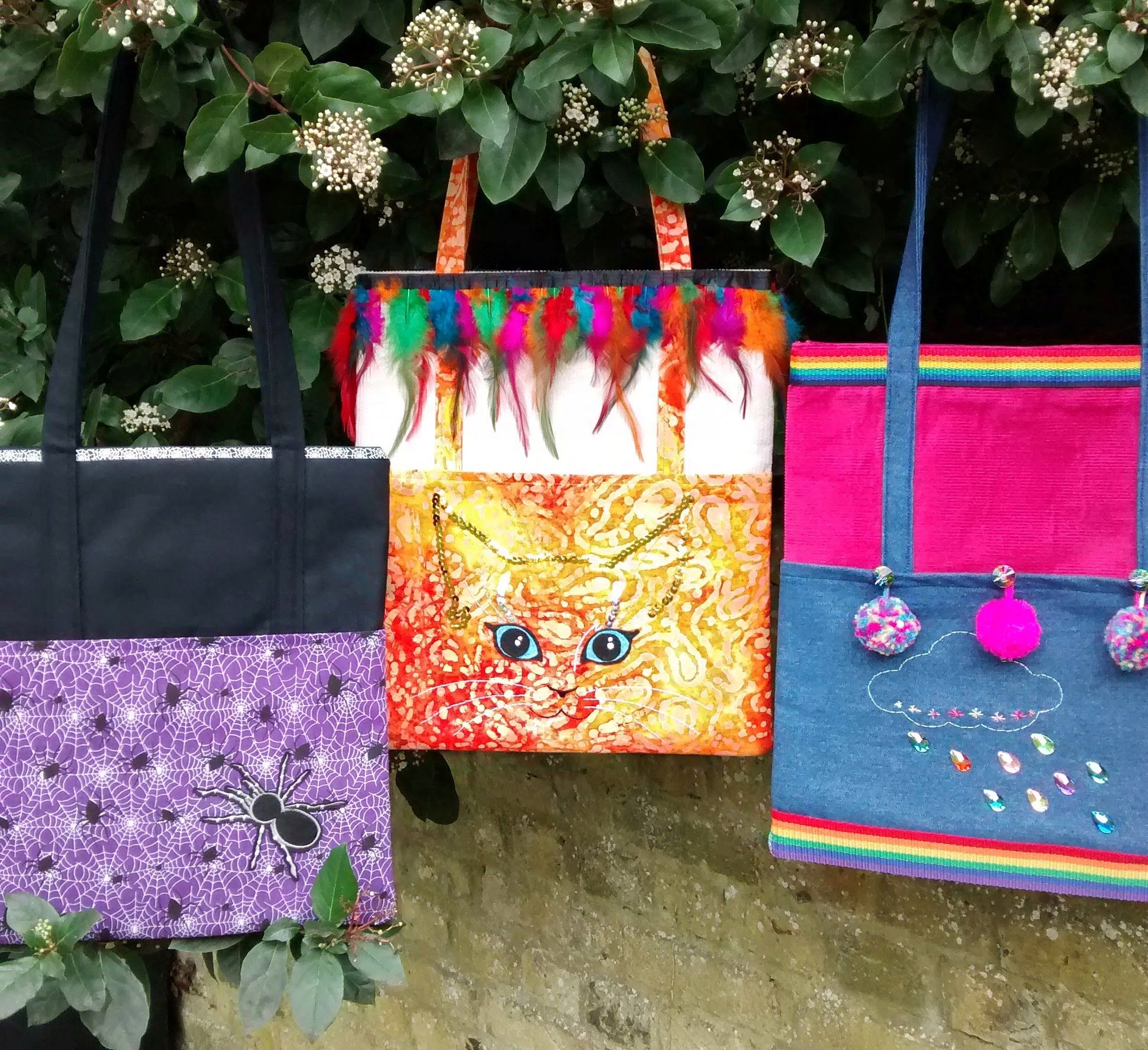 Unique colourful shoulder bags Raspberrycatdesigns.co.uk