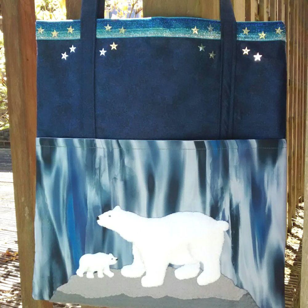 Adorable Polar Bear Handmade Shoulder Bag Raspberrycatdesigns.co.uk