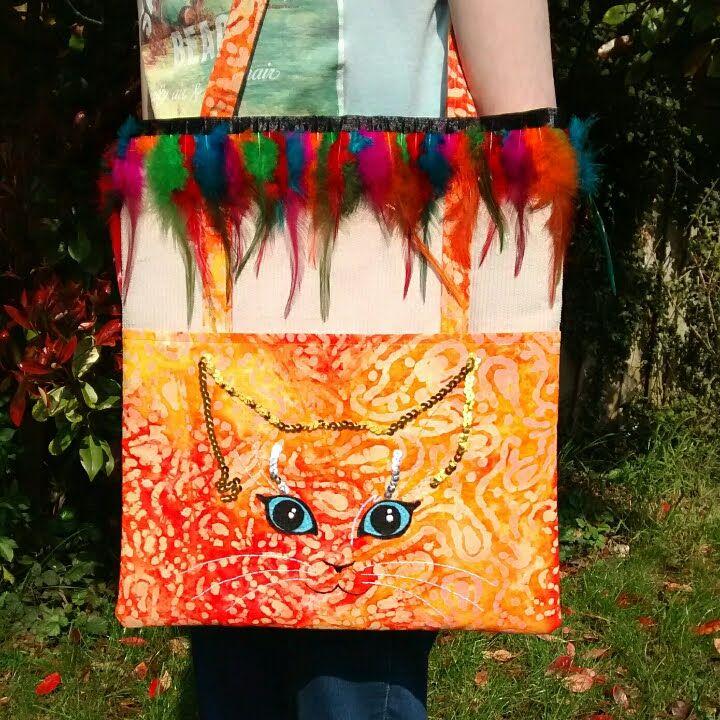 Sequined Cat Face Handmade Shoulder Bag Raspberrycatdesigns.co.uk