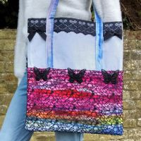 <!--005-->Black Butterfly And Rainbow Handmade Shoulder Bag