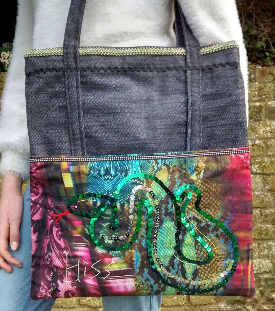 Gothic Style Sequin Snake Handmade Shoulder Bag Raspberrycatdesigns.co.uk