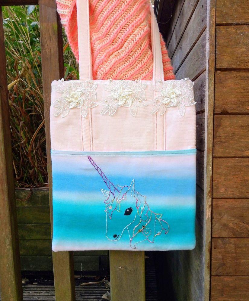 Pretty Magical Unicorn Handmade Shoulder Bag Raspberrycatdesigns.co.uk