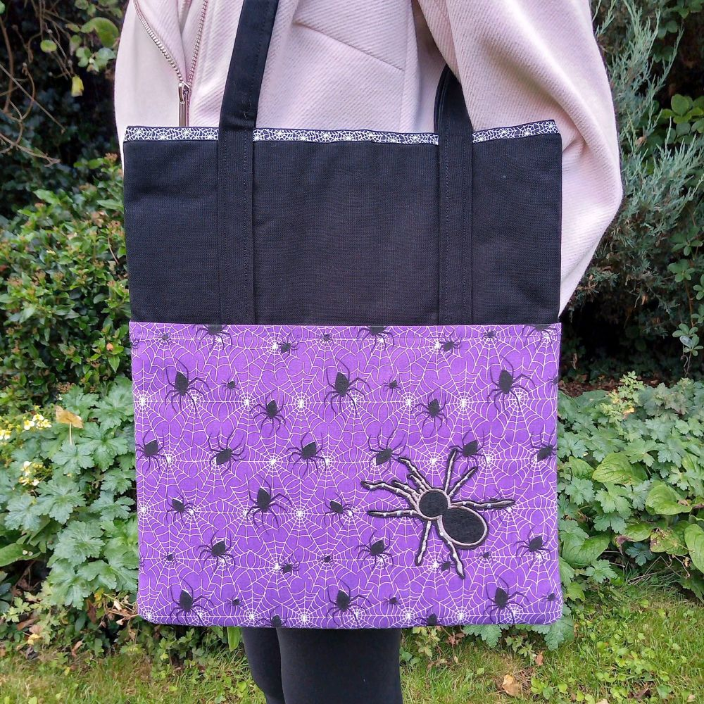 Scary Black Spider Handmade Shoulder Bag Raspberrycatdesigns.co.uk