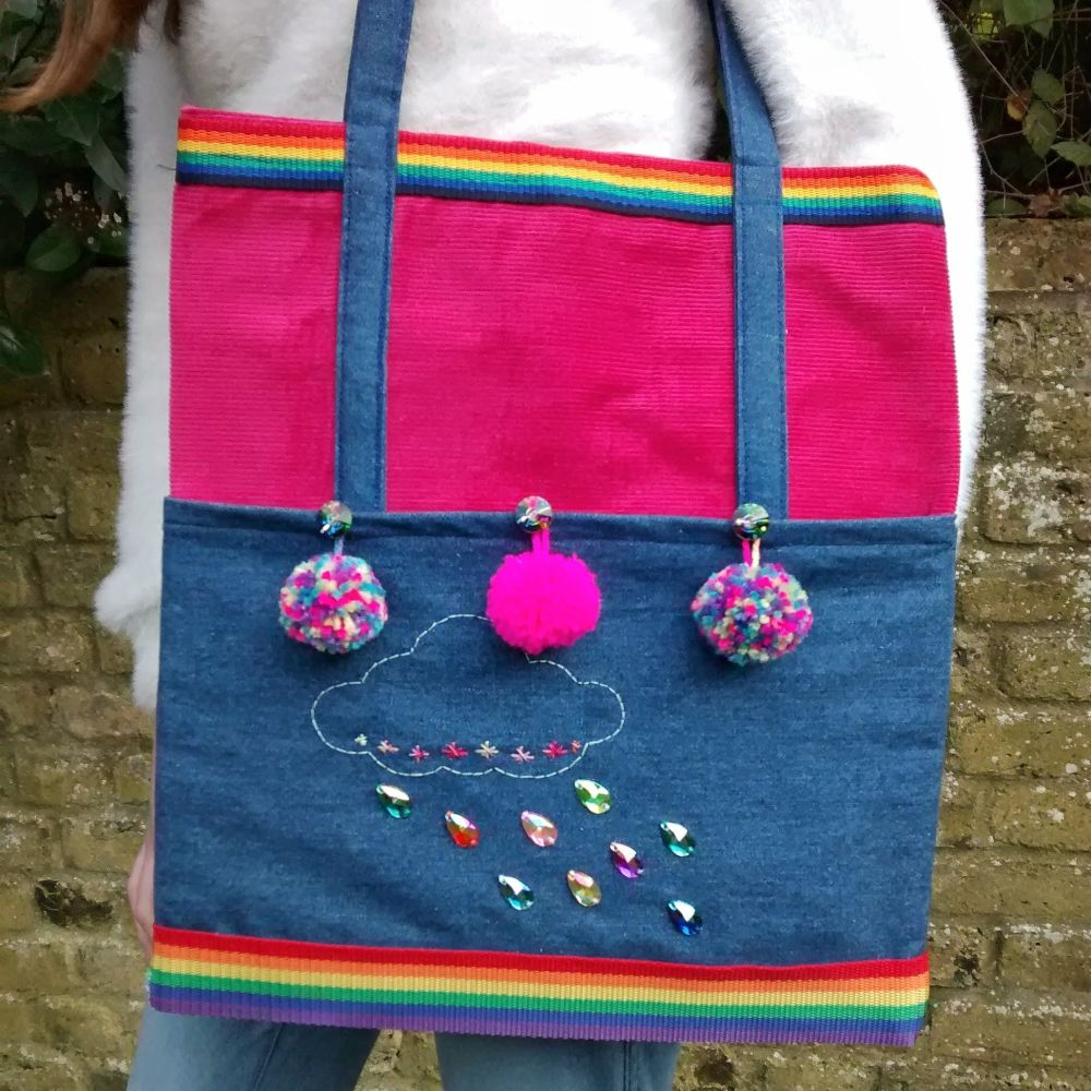 Rainbows and Pom Poms Handmade Shoulder Bag Raspberrycatdesigns.co.uk
