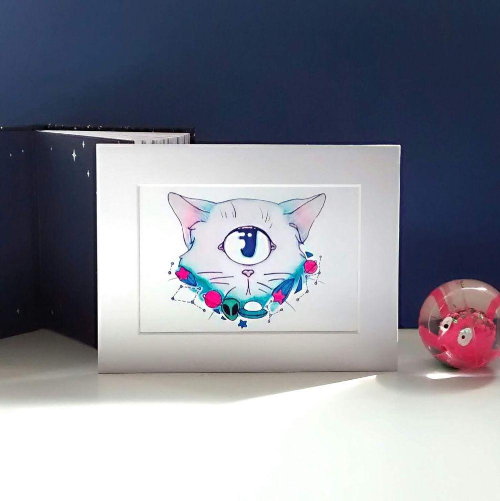 Alien Cat Galaxy Theme Art Print Raspberrycatdesigns.co.uk