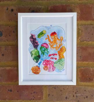 Colourful Sea Life Fish Food Art Print