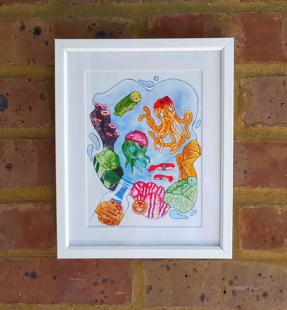 Colourful Sea Life Fish Food Art Print Raspberrycatdesigns.co.uk