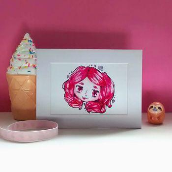 Pink Hair Fun Loving Character Art Print