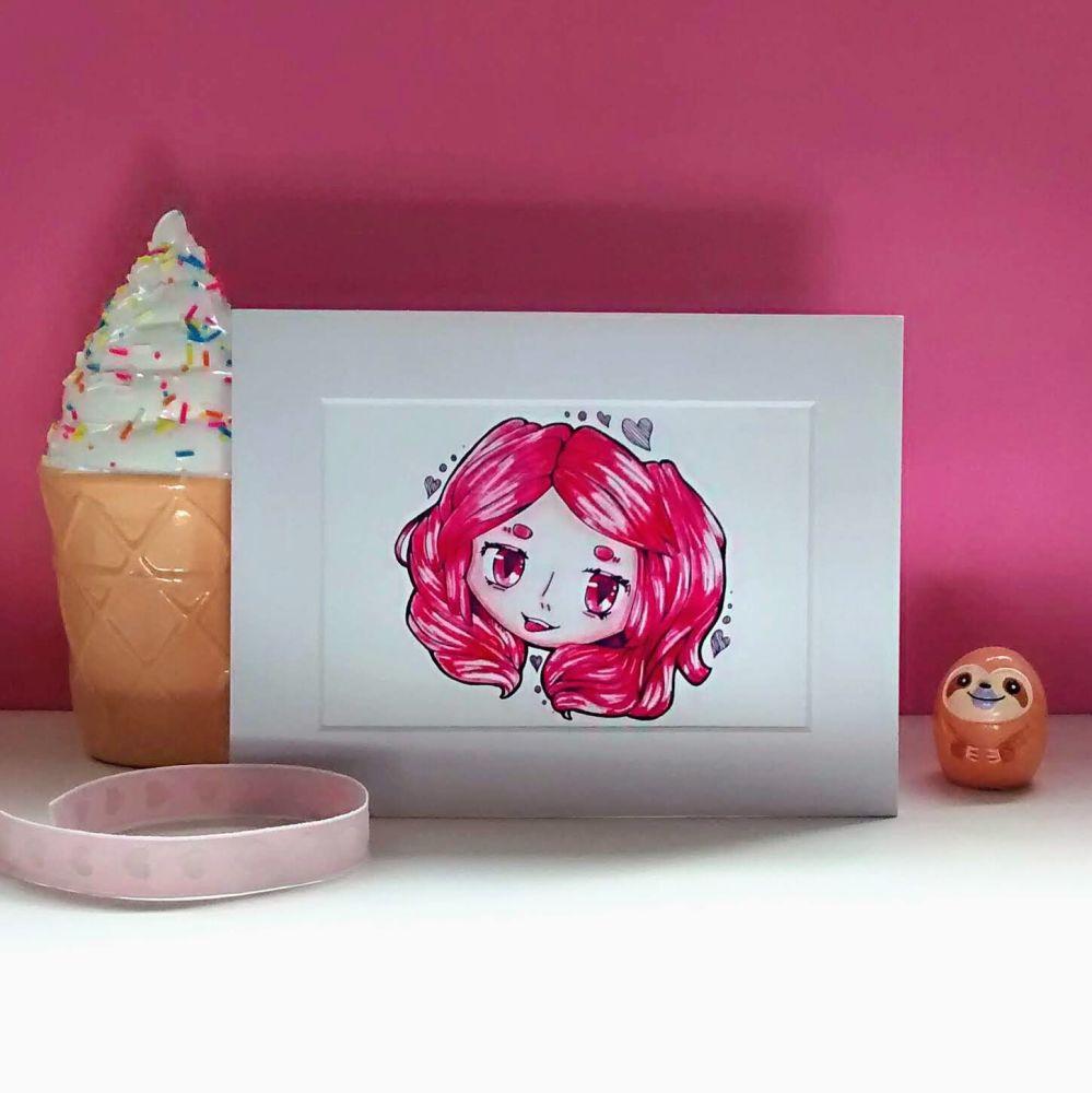 Pink Hair Fun Loving Character Art Print Raspberrycatdesigns.co.uk