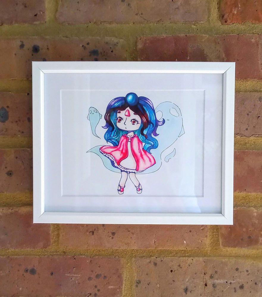 Enchanted Water Fairy Art Print Raspberrycatdesigns.co.uk