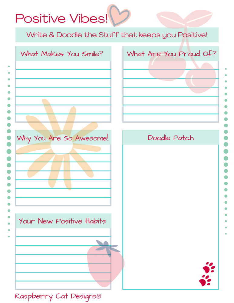 Positive Vibes A4 Printable Worksheet Raspberrycatdesigns.co.uk