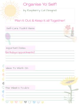 Organise Yo' Self A4 Printable Worksheet
