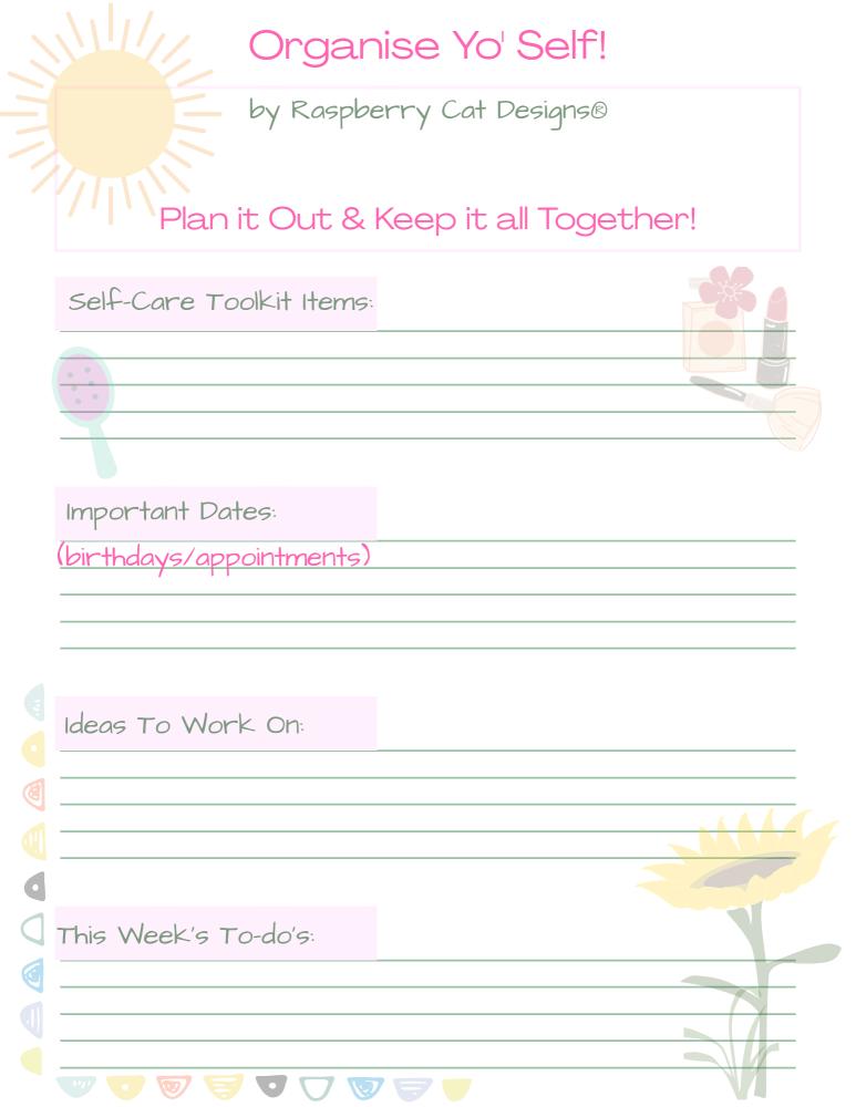 Organise Yo' Self A4 Printable Worksheet Raspberrycatdesigns.co.uk