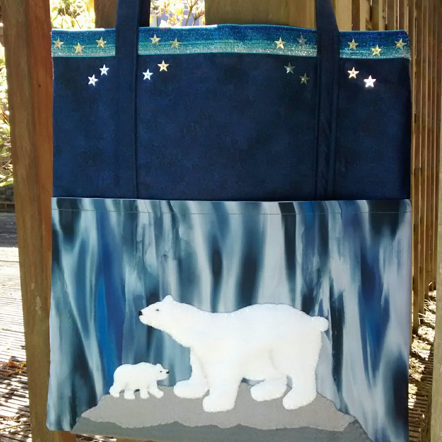 Polar bear shoulder bag WWF donation Raspberry Cat Designs
