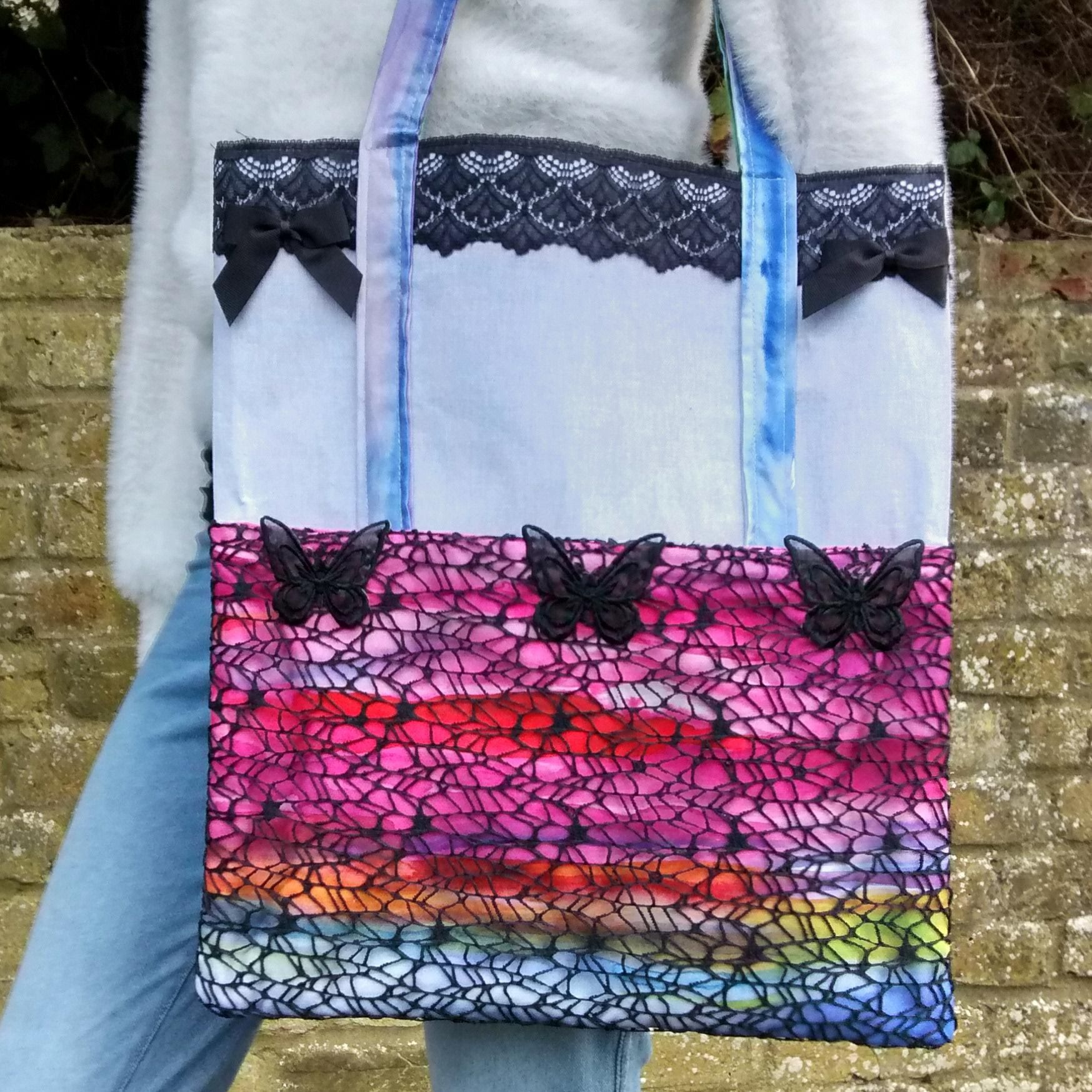 Black butterfly handmade shoulder bag Raspberry cat designs