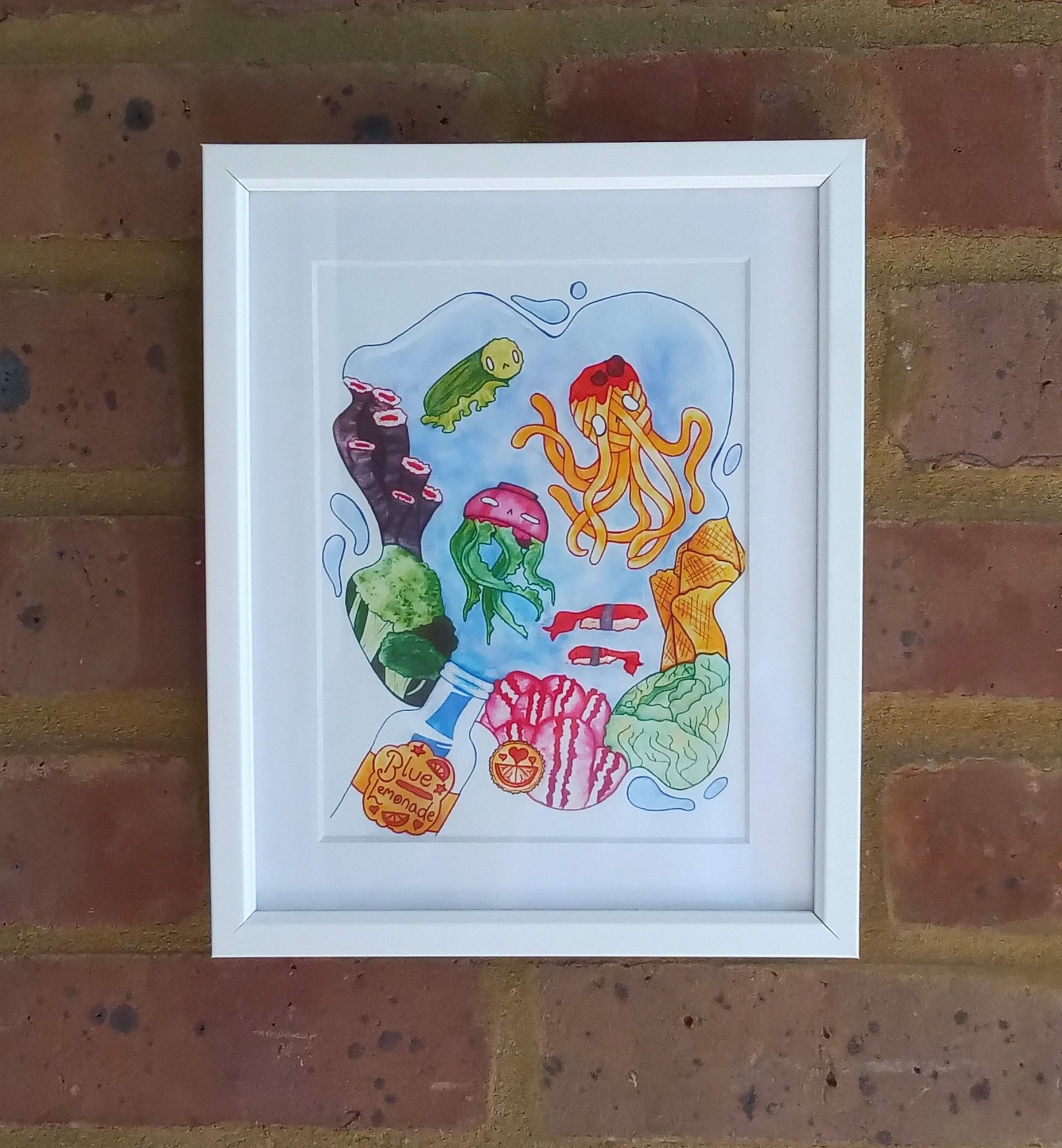 under the sea wall art print Raspberry cat designs