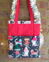 <!--011-->*LIMITED EDITION* Christmas Cats Shoulder Bag - Ready to send!