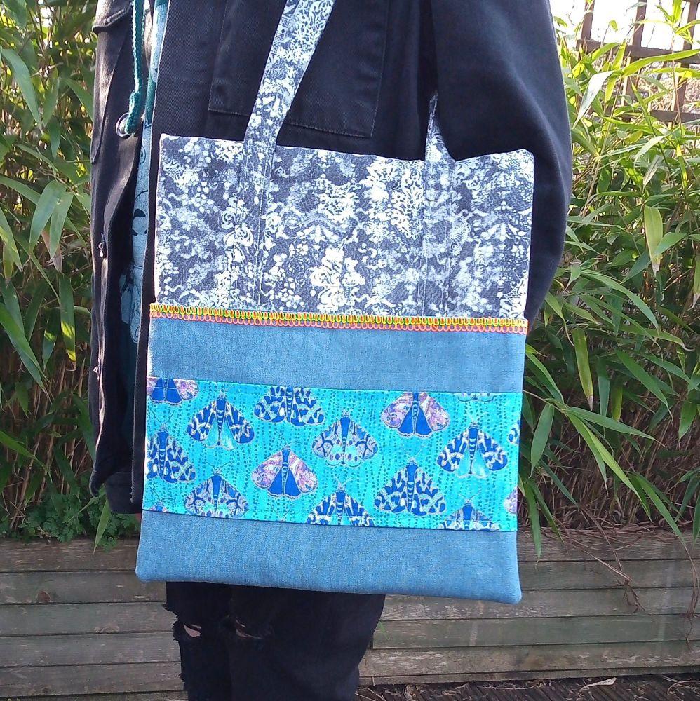 Luminous Moth Handmade Shoulder Bag www.raspberrycatdesigns.co.uk
