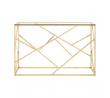 Allure Champagne Gold Geometric Console Table
