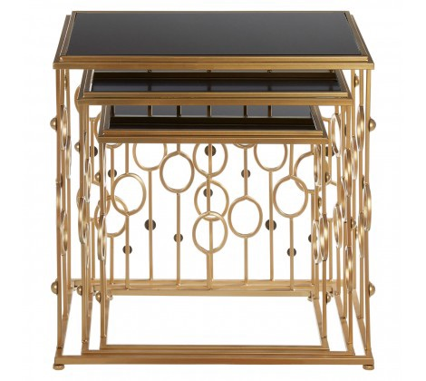 Faiza Set Of 3 Art Deco Console Tables