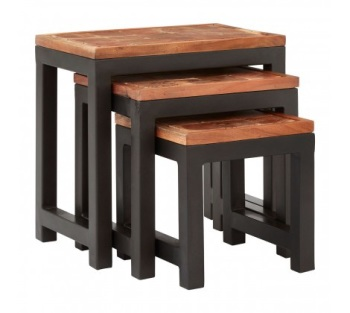 Artisan Acacia Wood / Iron Nesting Tables