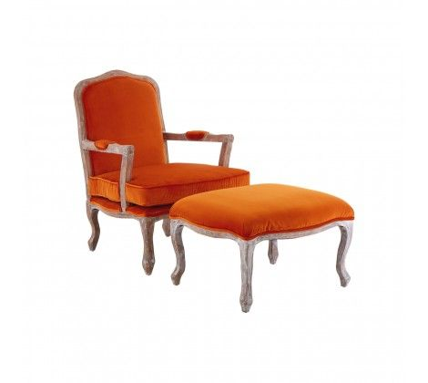 Rocco Orange Velvet Chair and Footstool