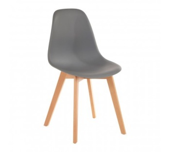 Stockholm Grey Chair With Wood Legs